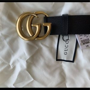 💕Black leather Gold buckle GG 💕